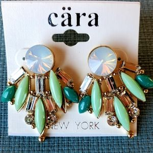 New Cara New York CZ Cluster Statement Earrings.